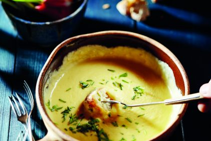 Easy cheese fondue with tarragon, Pernod and Old Amsterdam